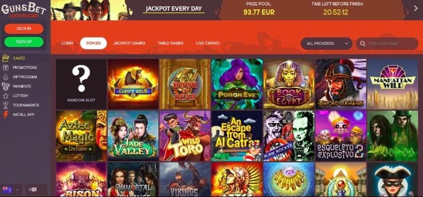 Slots Selection at Gunsbet Casino