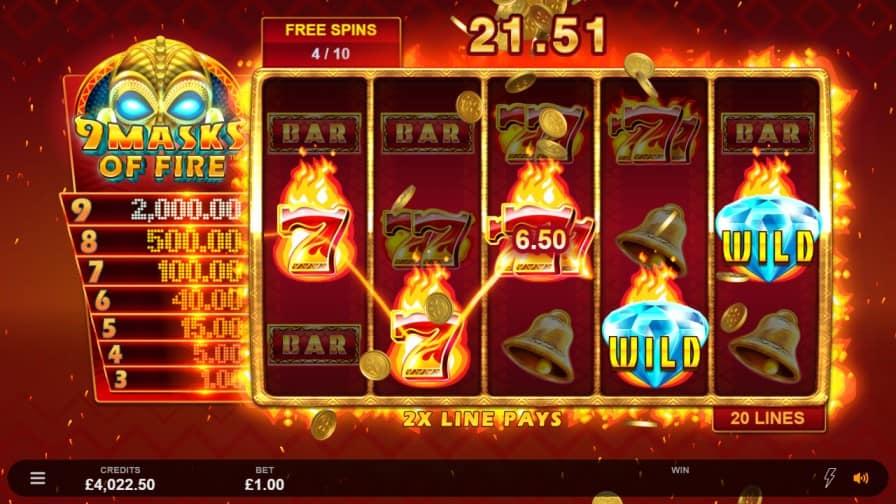 9 Masks Of Fire สล็อต, โดย Microgaming, ที่ Spin Casino