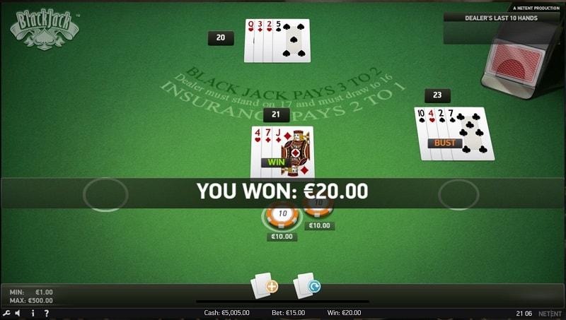 แบล็คแจ็ค โดย NetEnt, ที่ wins88 คาสิโน