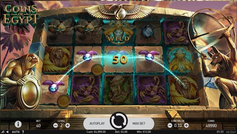 Coins of Egypt สล็อต, โดย NetEnt, ที่ wins88 คาสิโน