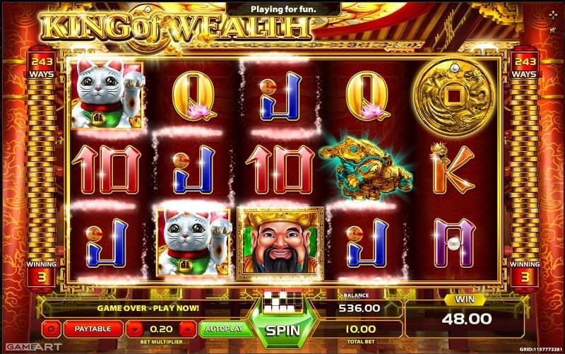 King of Wealth สล็อต, โดย GameArt, ที่ wins88 คาสิโน