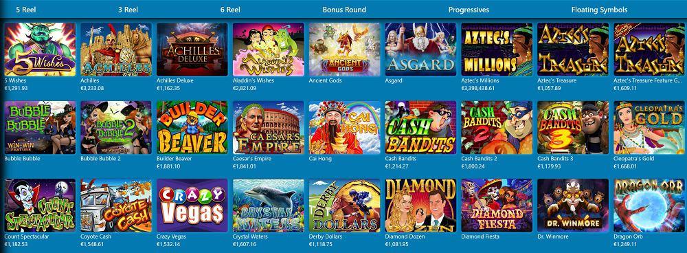 Slots selection at Slots Hall Casino