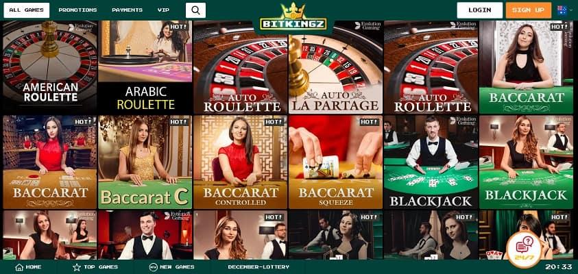 Live Casino Section - Bitkingz Casino